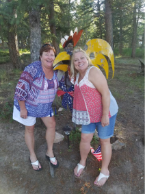 Me and Libby with the rooster in her yard!
