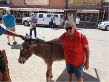 Mom and the burro at Oatman
