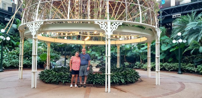 Us inside the Opryland Hotel in Nashville