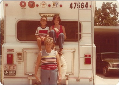 "Me, Clete and Mom on the back of the ""Winnie"""